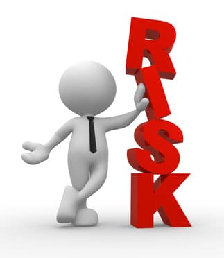 """3d people - man, person and a word """"Risk"""". Businessman"""