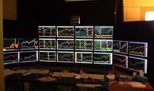 forex and stock trading stations with multiple monitors