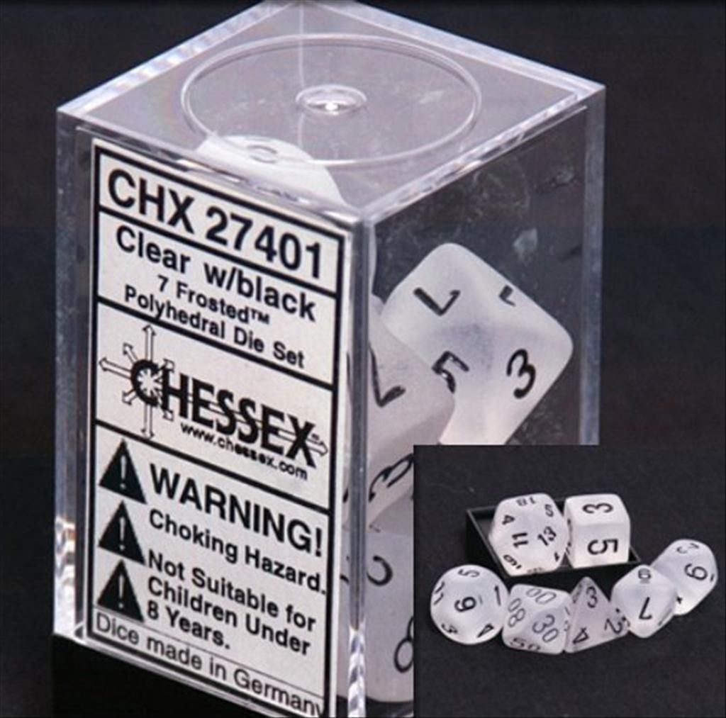 Chessex CHX27401 Dice-Frosted Clear//Black Set CHX 27401