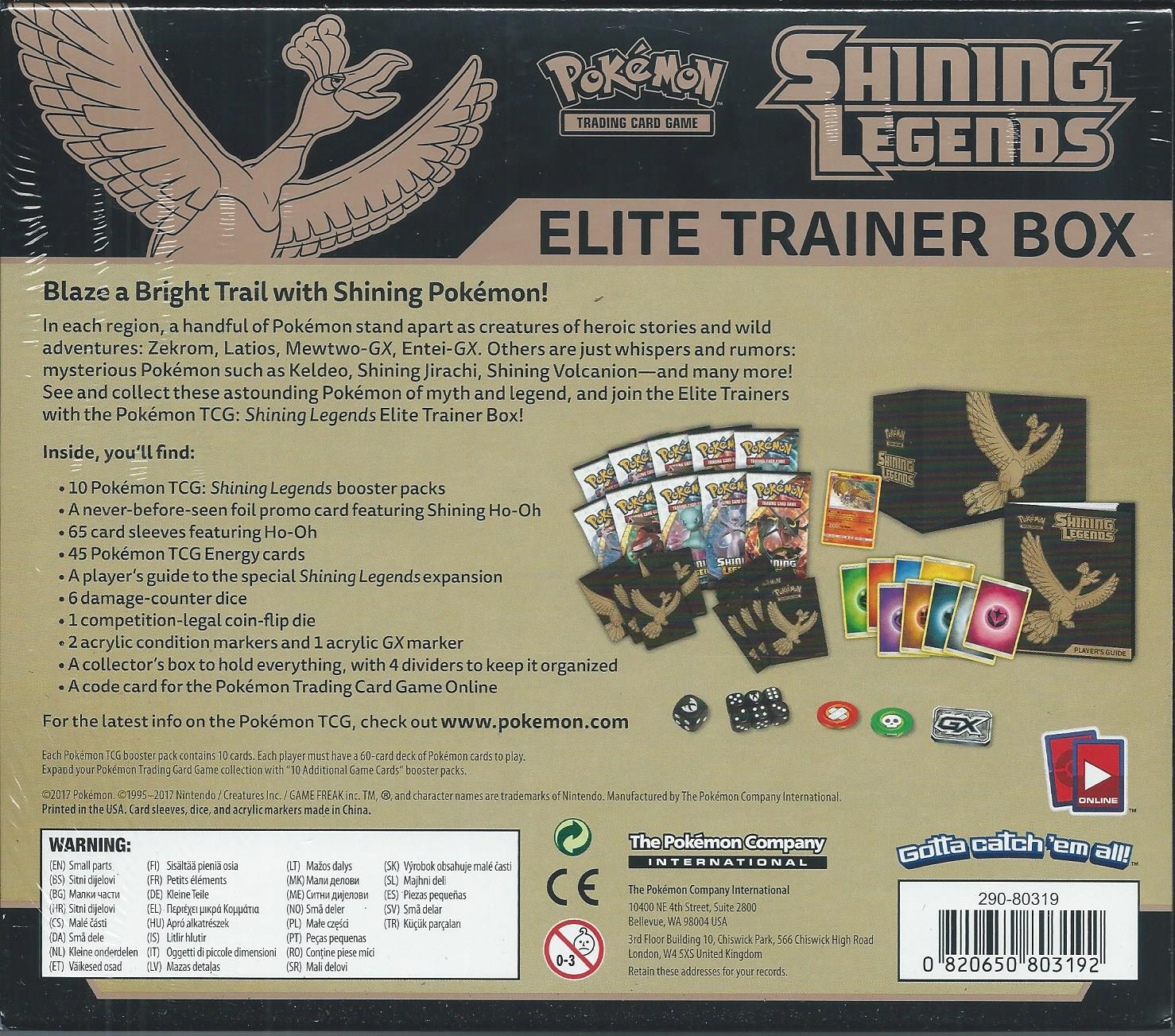 Pokemon TCG Shining Legends Elite Trainer Box, In Stock