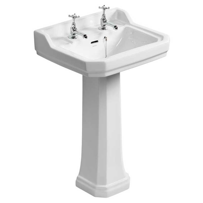 ideal standard waverley 56cm pedestal basin two tapholes u470101 basin only