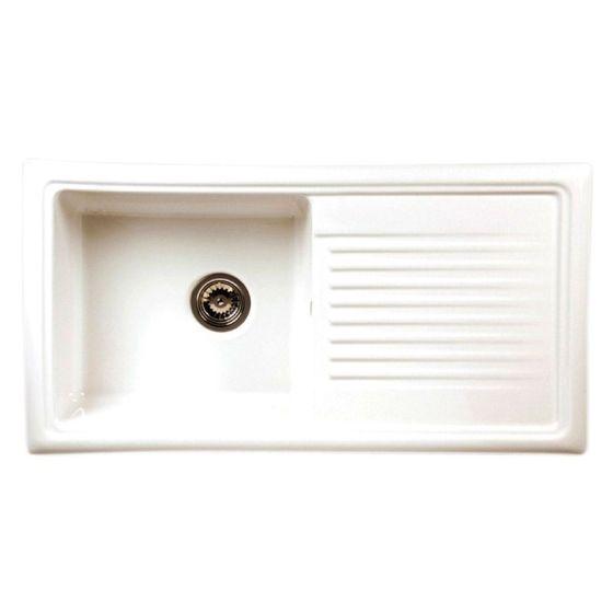 reginox regi ceramic rl304 cw 1 bowl kitchen sink including waste white