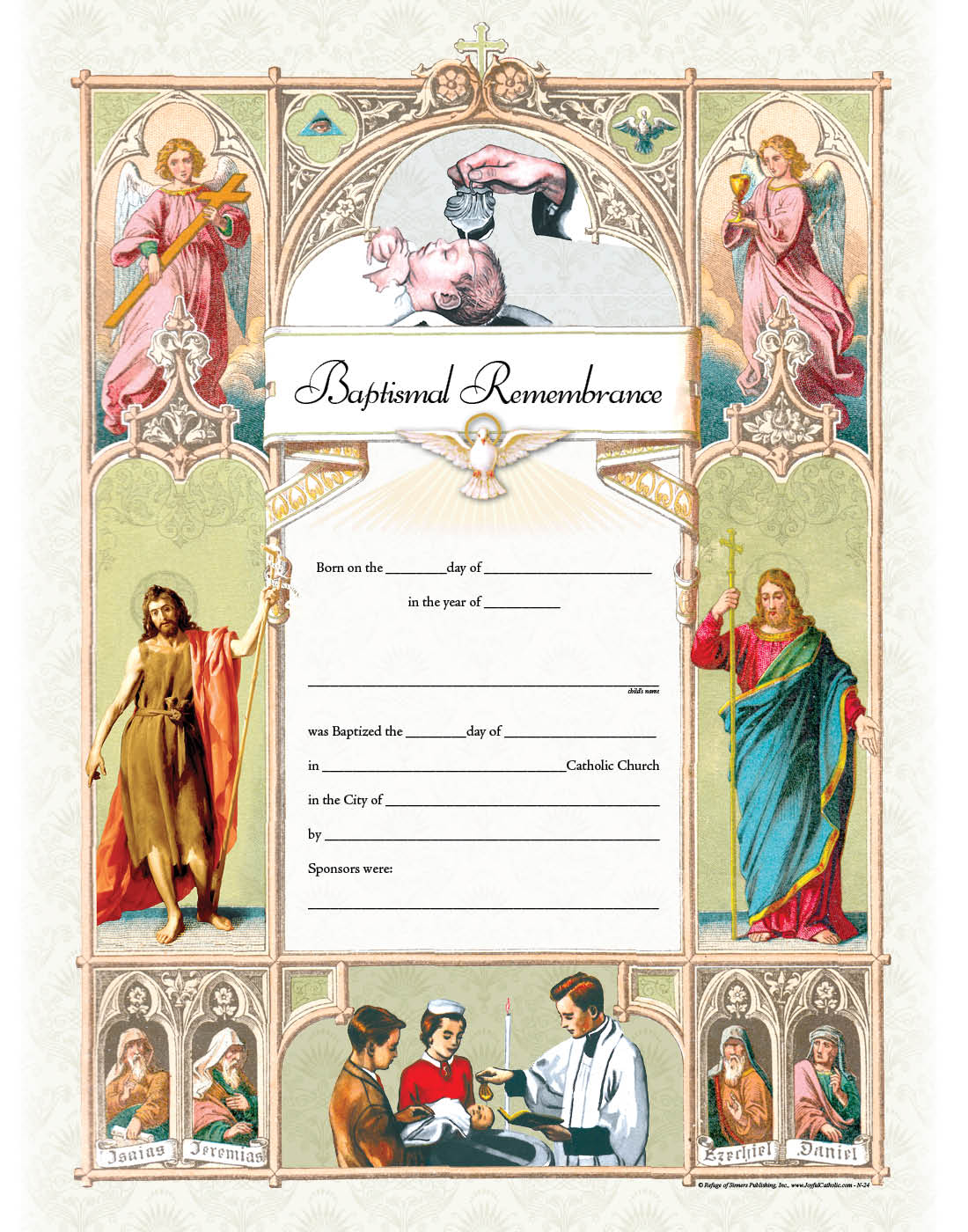 Baptismal Remembrance Certificate Gt Framed Pictures