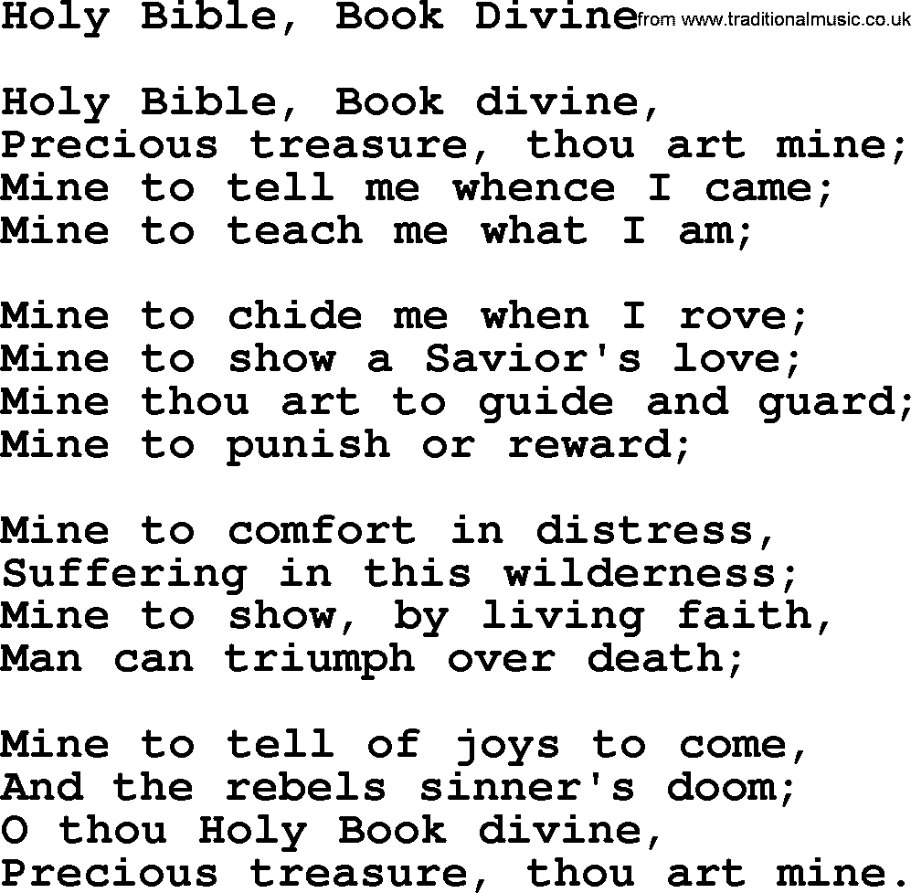 Baptist Hymnal, Christian Song: Holy Bible, Book Divine