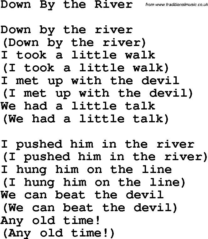 Christian Childrens Song: Down By The River Lyrics