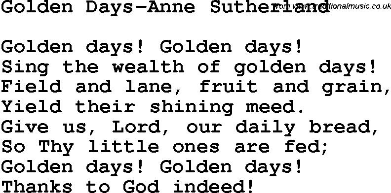 Christian Childrens Song: Golden Days-Anne Sutherland Lyrics