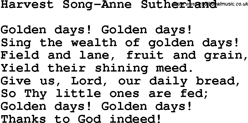 Christian Childrens Song: Harvest Song-Anne Sutherland Lyrics