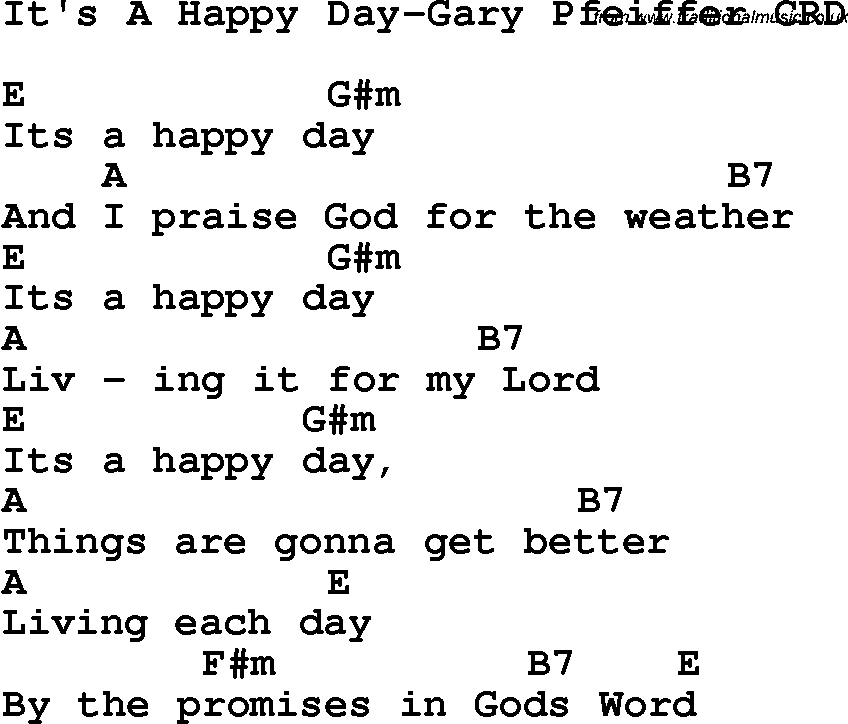 Christian Childrens Song: It's A Happy Day-Gary Pfeiffer