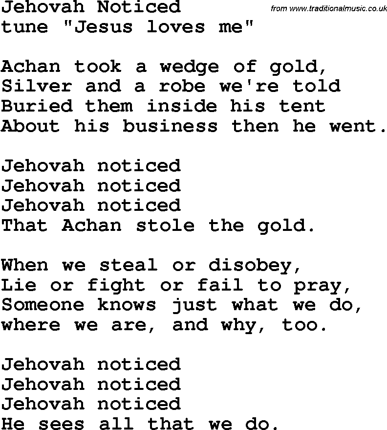 Christian Childrens Song: Jehovah Noticed Lyrics