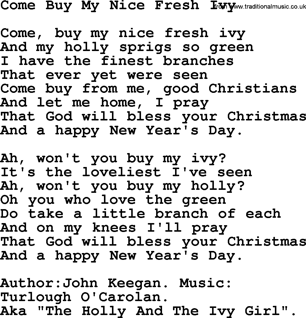 Christmas Powerpoints, Song: Come Buy My Nice Fresh Ivy