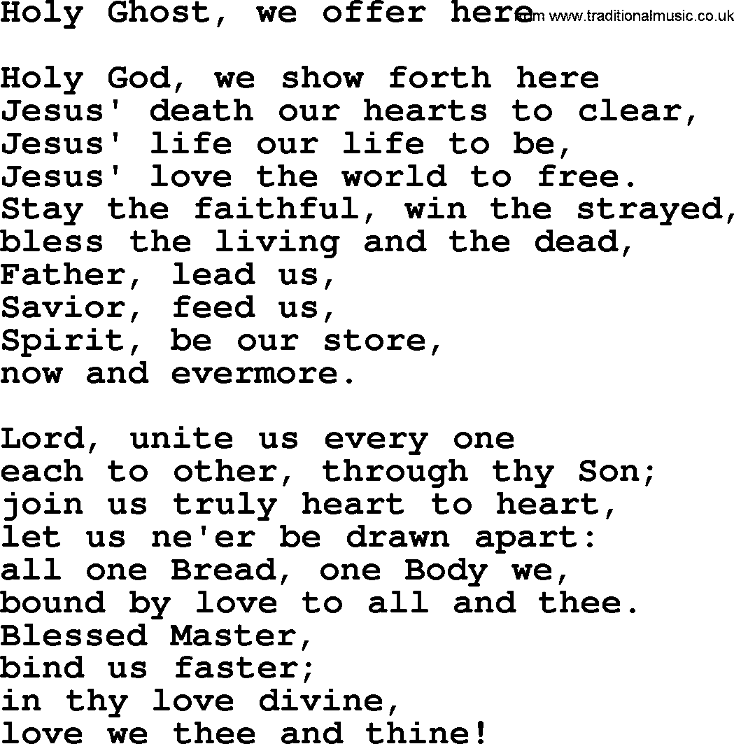 Hymns and Songs for The Eucharist(Communion): Holy Ghost