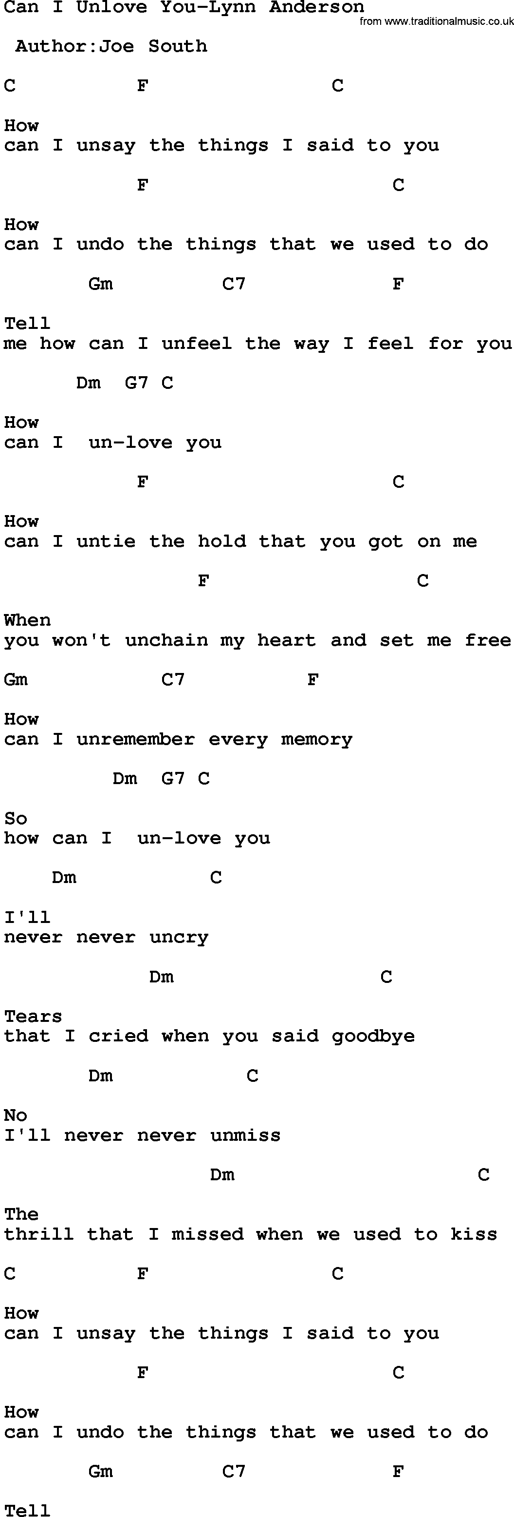 Country Music:Can I Unlove You-Lynn Anderson Lyrics and Chords