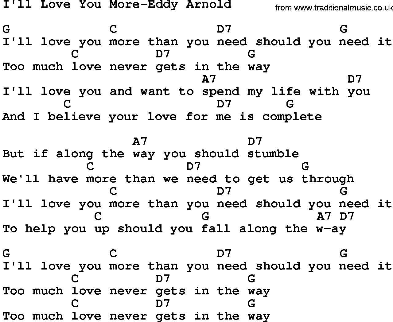 Country Music:I'll Love You More-Eddy Arnold Lyrics and Chords