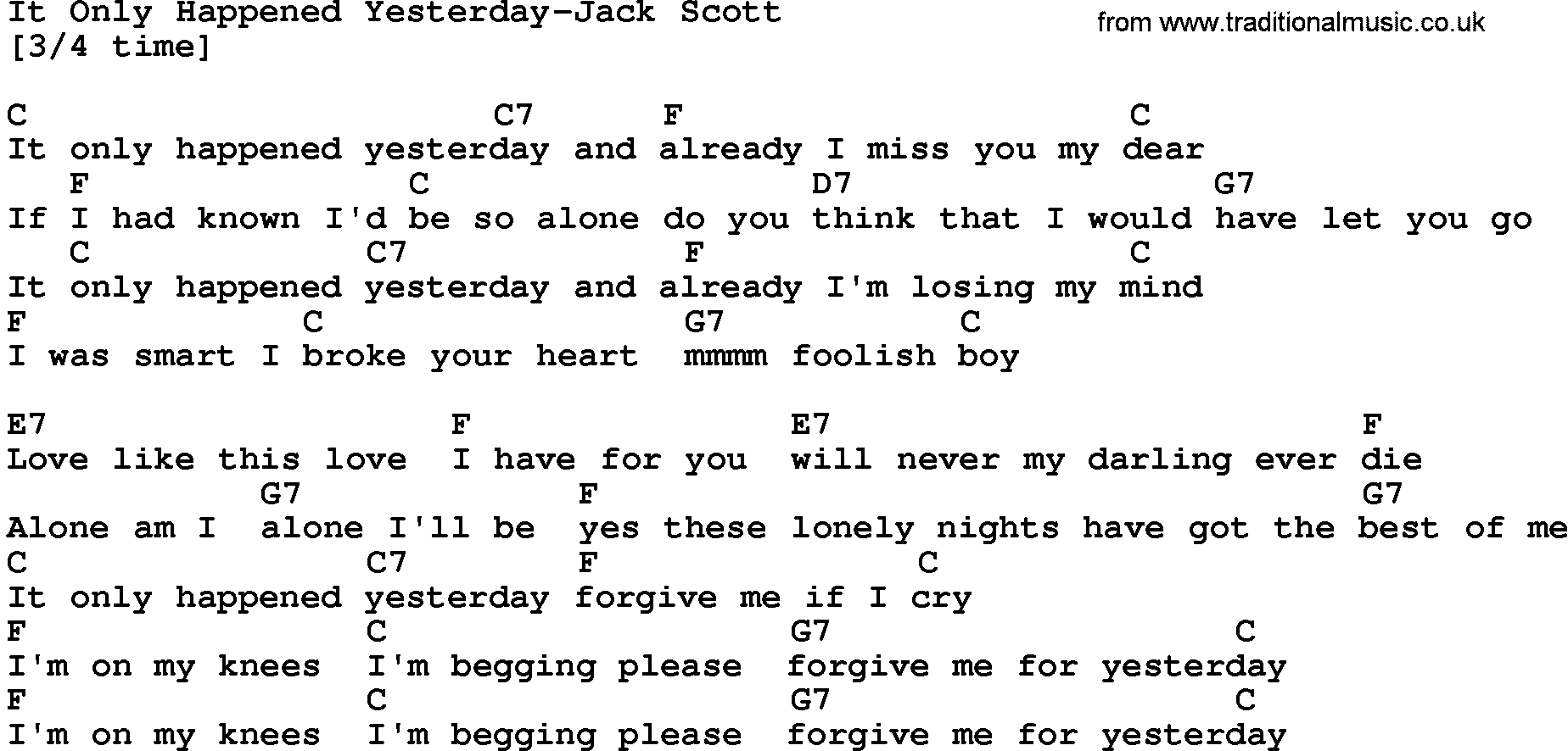 Country Music:It Only Happened Yesterday-Jack Scott Lyrics and Chords