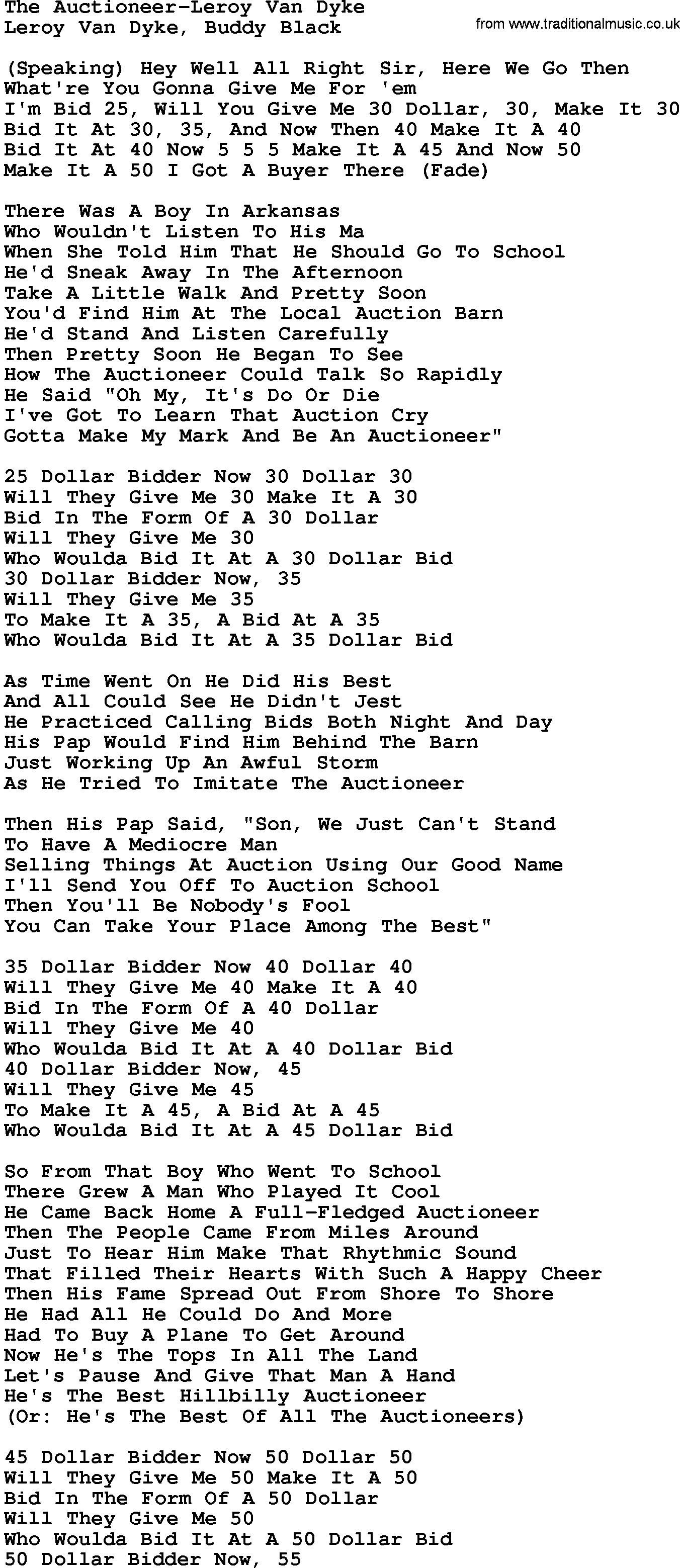 Country Music:The Auctioneer-Leroy Van Dyke Lyrics and Chords