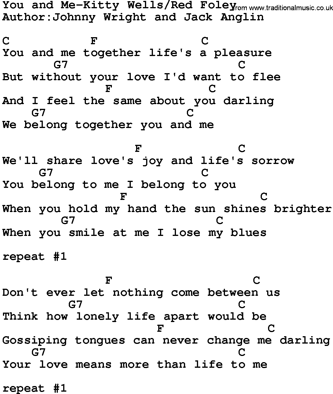 Country Music:You And Me-Kitty Wells&red Foley Lyrics and Chords