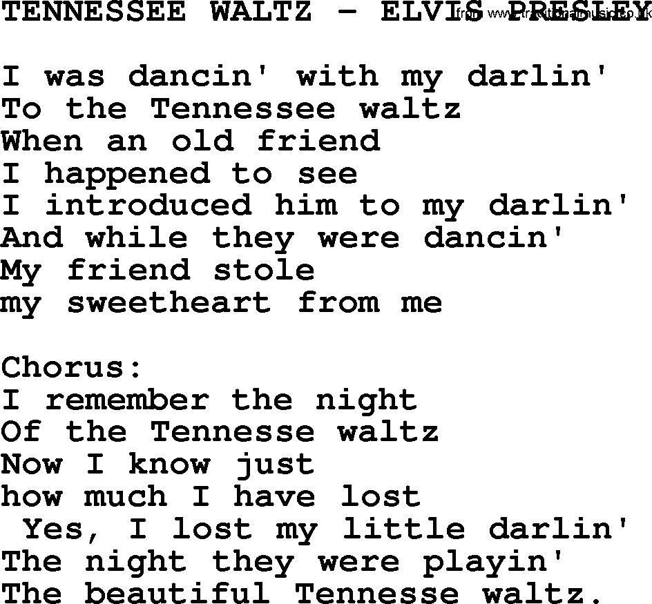 Tennessee Waltz-Elvis Presley-.txt, by Elvis Presley