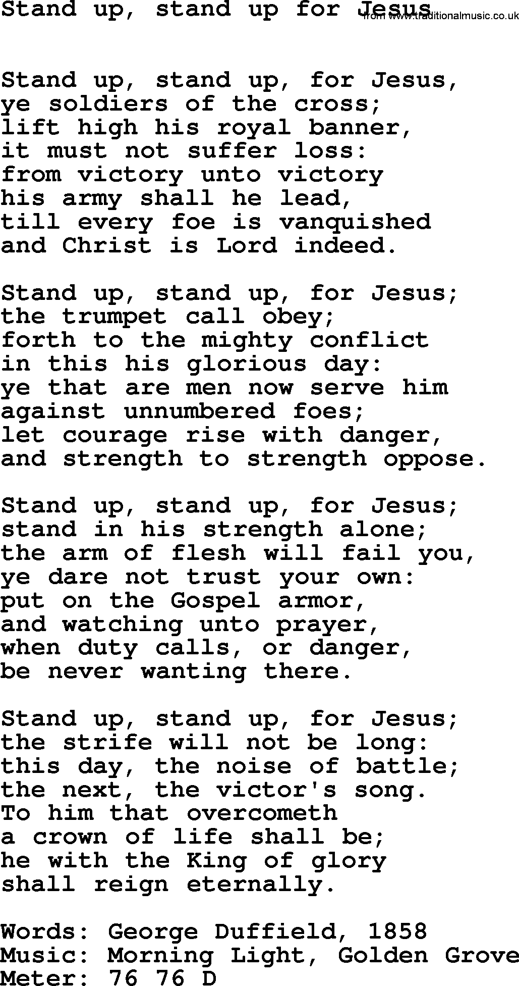 Stand Up Stand Up For Jesus Hymn Lyrics - LyricsWalls