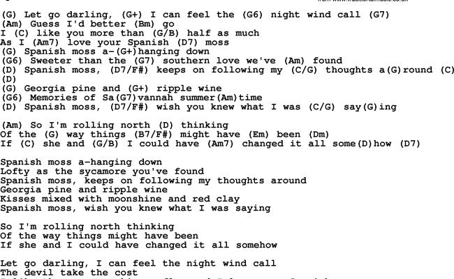 Spanish Moss By Gordon Lightfoot Lyrics And Chords
