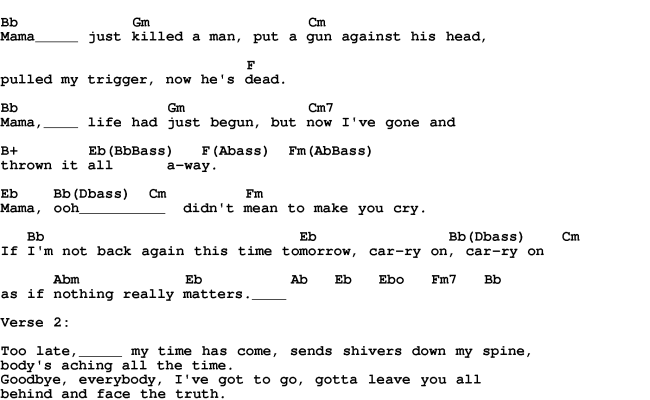 Love Song Lyrics For Bohemian Rhapsody Queen With Chords