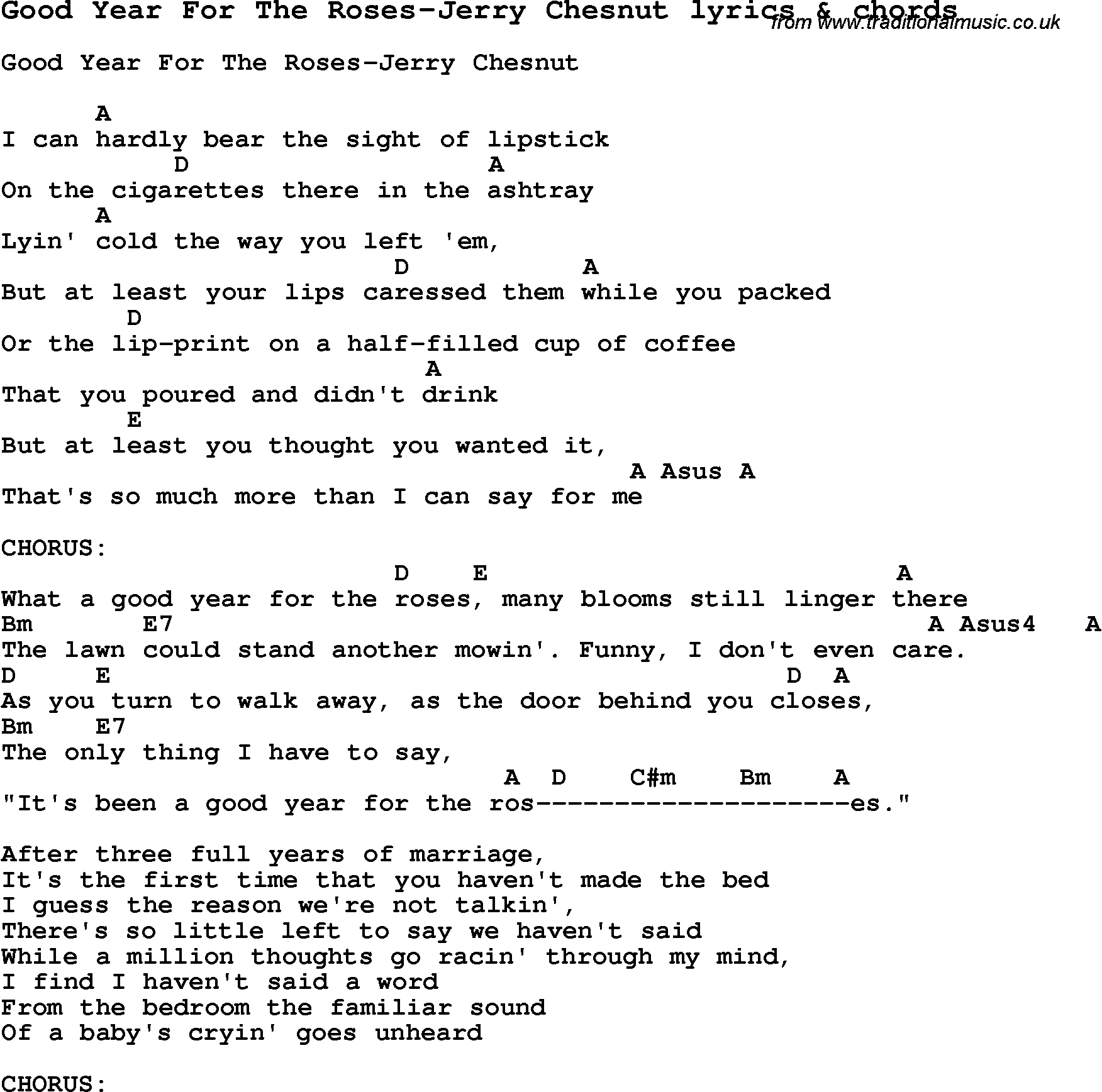 Love Song Lyrics forGood Year For The RosesJerry Chesnut