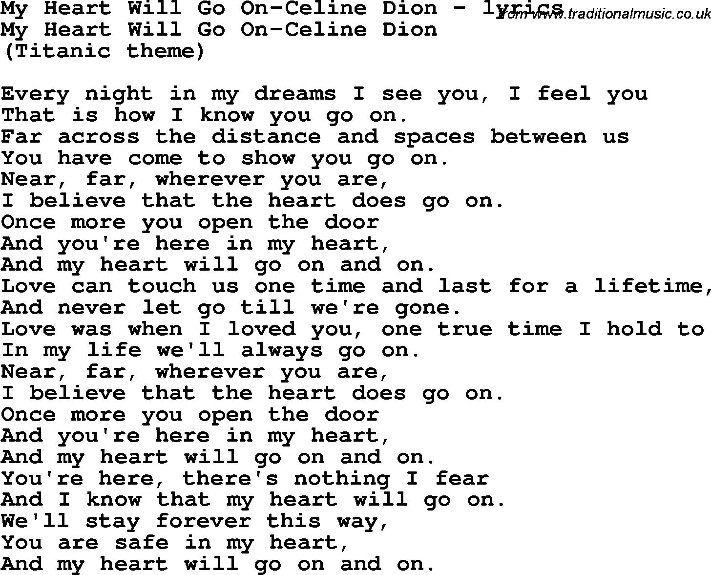 Download Celine Dion My Heart Will Go On Lyrics - DownloadMeta