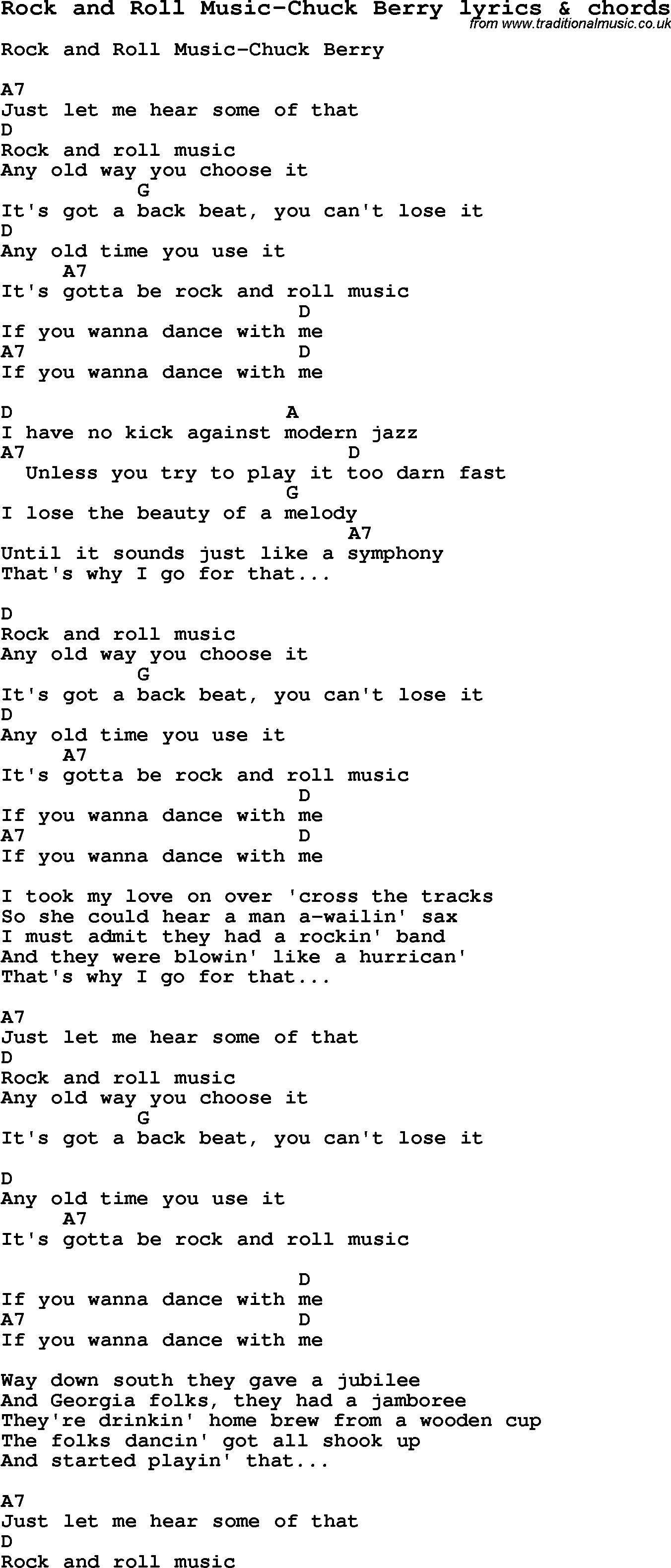 Love Song Lyrics For: Rock And Roll Music-Chuck Berry With Chords For  Ukulele