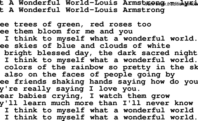 Love Song Lyrics For What A Wonderful World Louis Armstrong