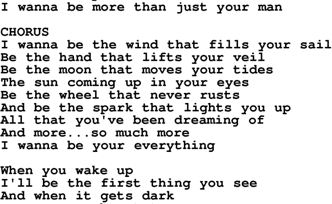 Love Song Lyrics For Your Everything Keith Urban