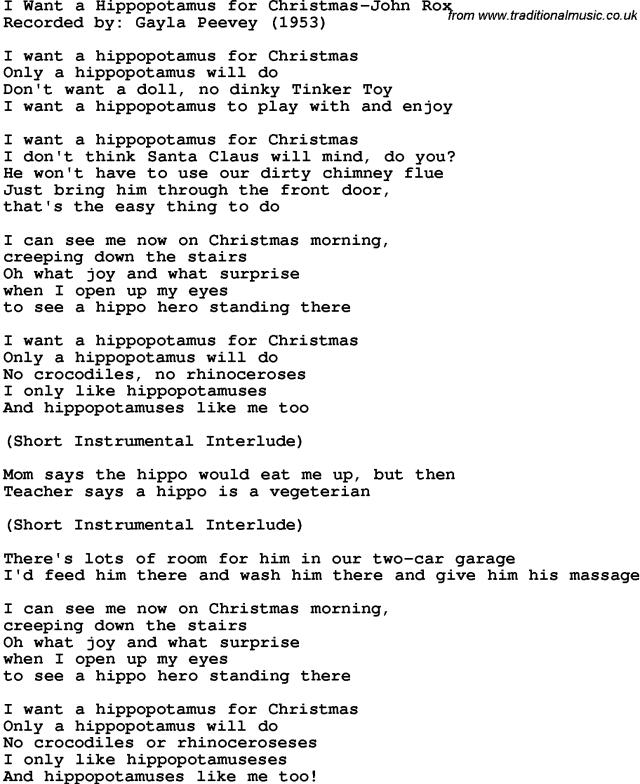 hippopotamus christmas song