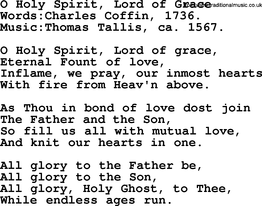 Pentecost Hymns, Song: O Holy Spirit, Lord Of Grace