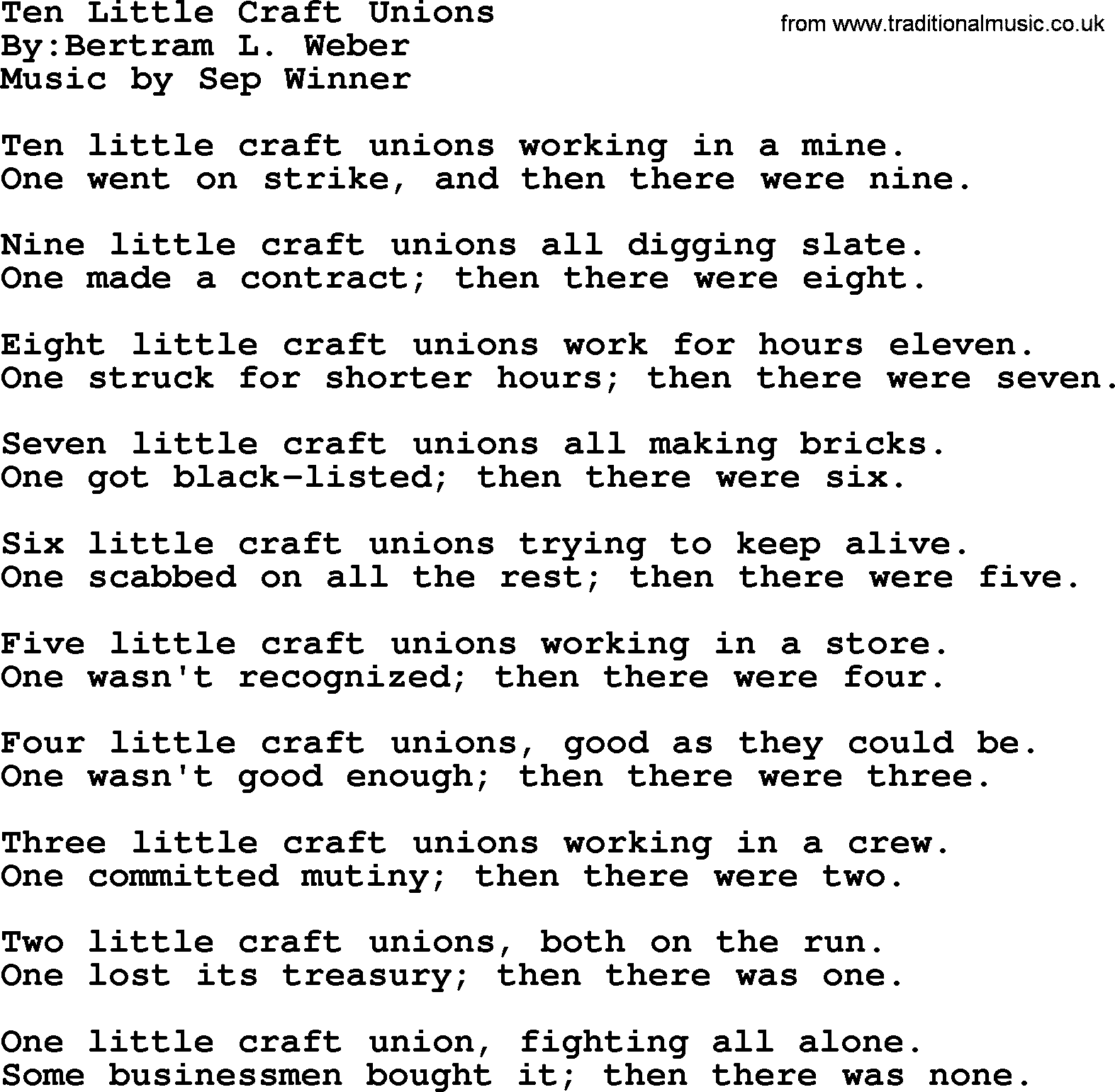 Ten Little Craft Unions Political Solidarity Workers Or Union Song Lyrics
