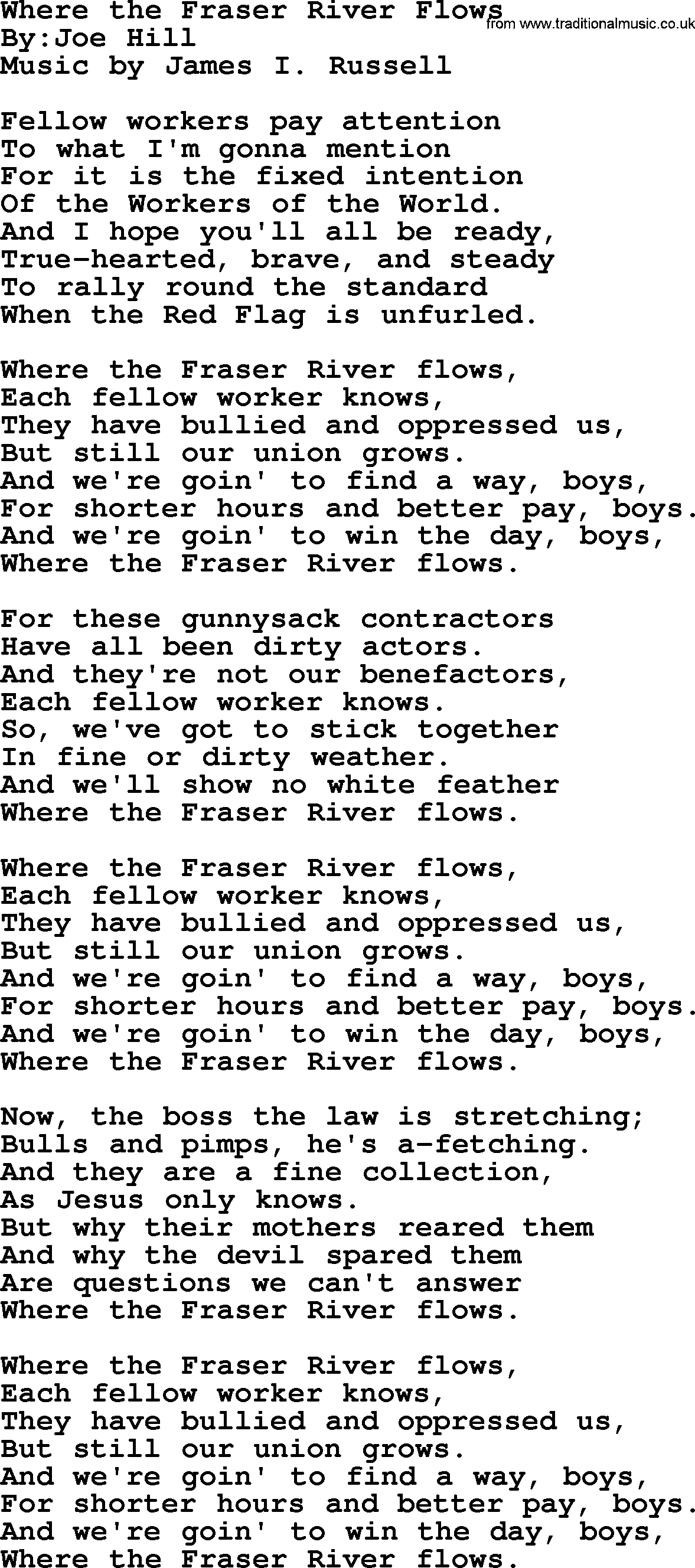 Where The Fraser River Flows - Political, Solidarity, Workers or Union Song lyrics