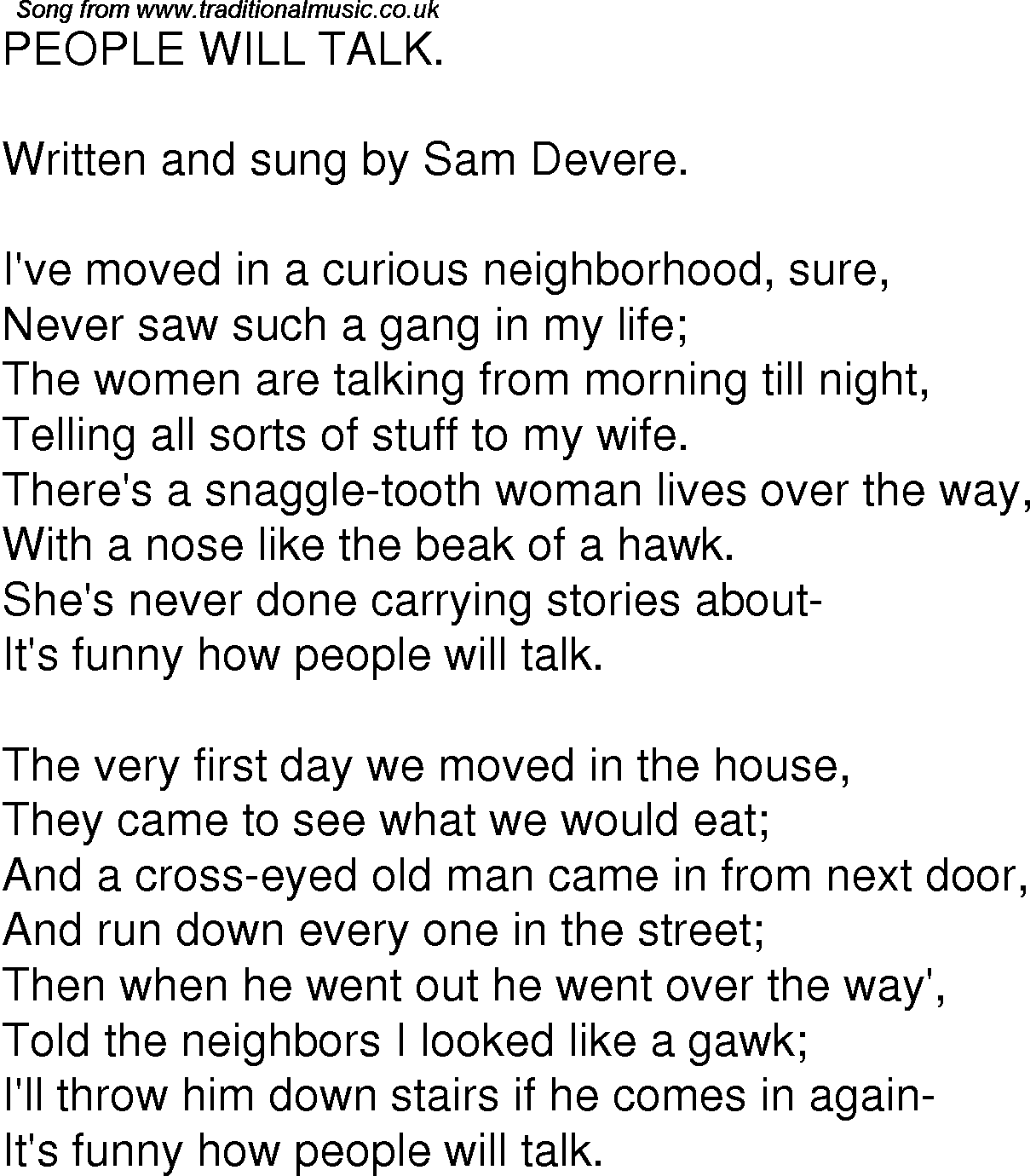 Old Time Song Lyrics for 06 People Will Talk