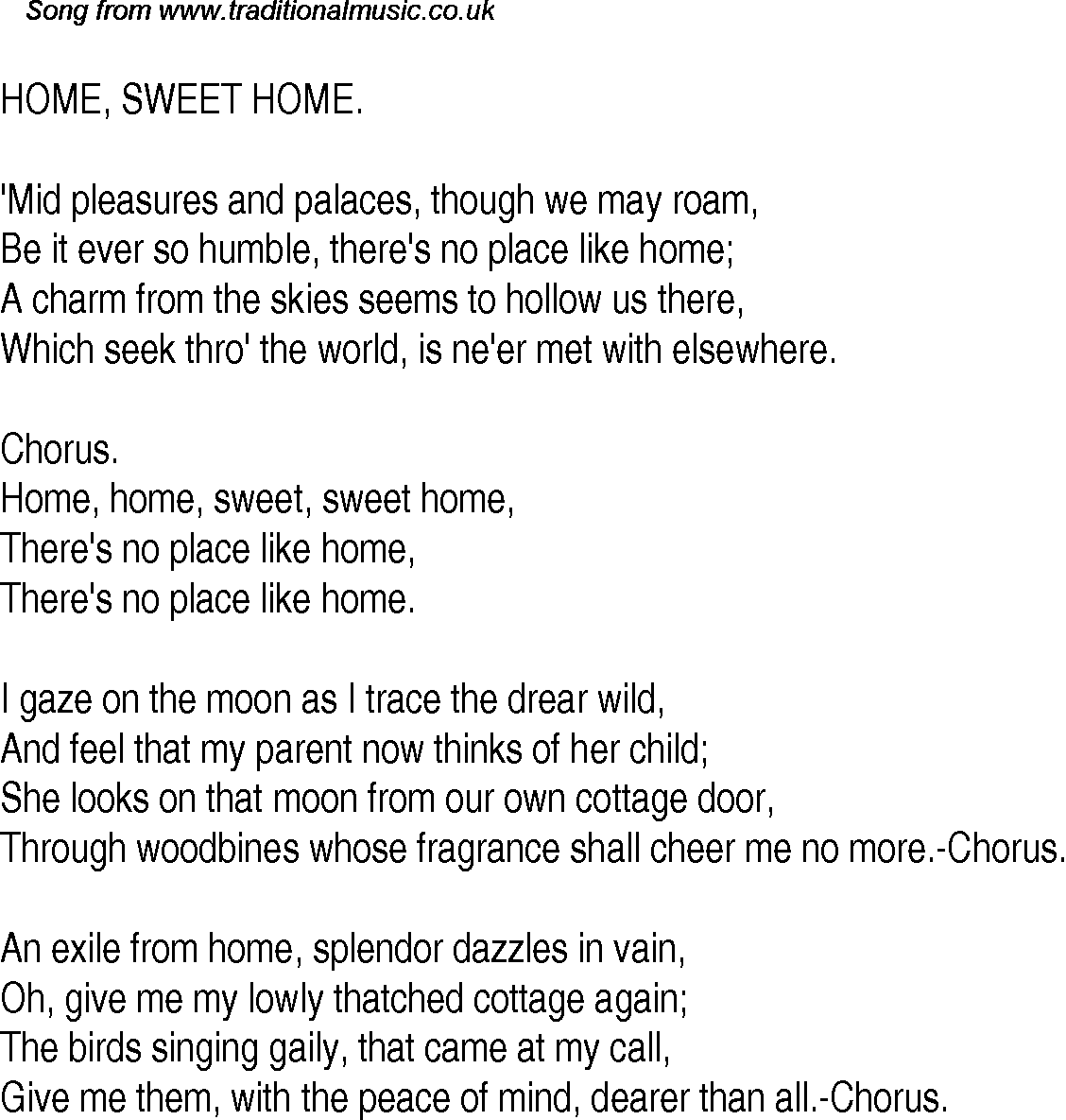Father, you know i streach. Old Time Song Lyrics For 25 Home Sweet Home