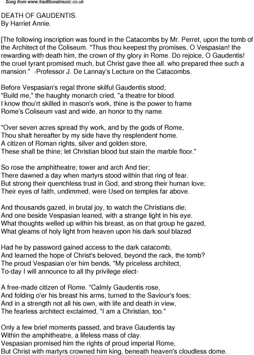 small resolution of Old Time Song Lyrics for 40 Death Of Gaudentis