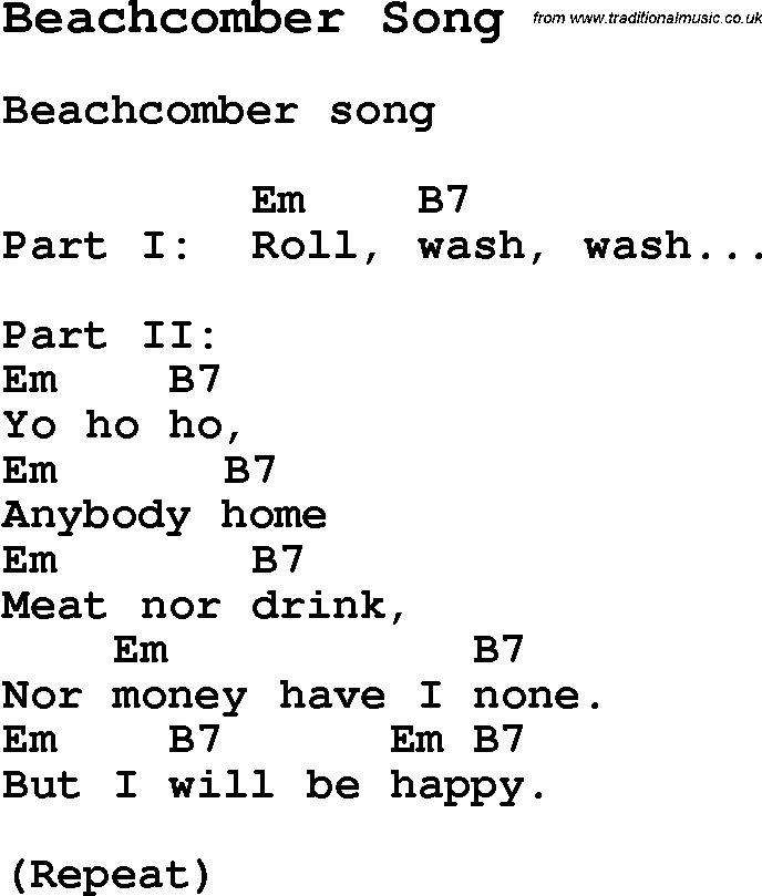 Summer Camp Song, Beachcomber Song, with lyrics and chords