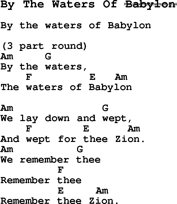 Summer Camp Song, By The Waters Of Babylon, with lyrics