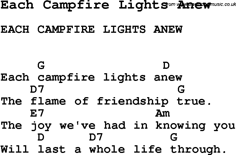 Summer Camp Song, Each Campfire Lights Anew, with lyrics