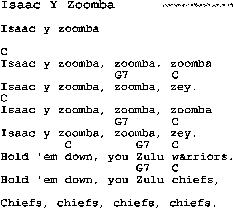 Summer Camp Song, Isaac Y Zoomba, with lyrics and chords
