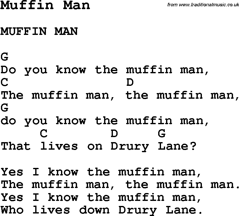 Summer Camp Song, Muffin Man, with lyrics and chords for