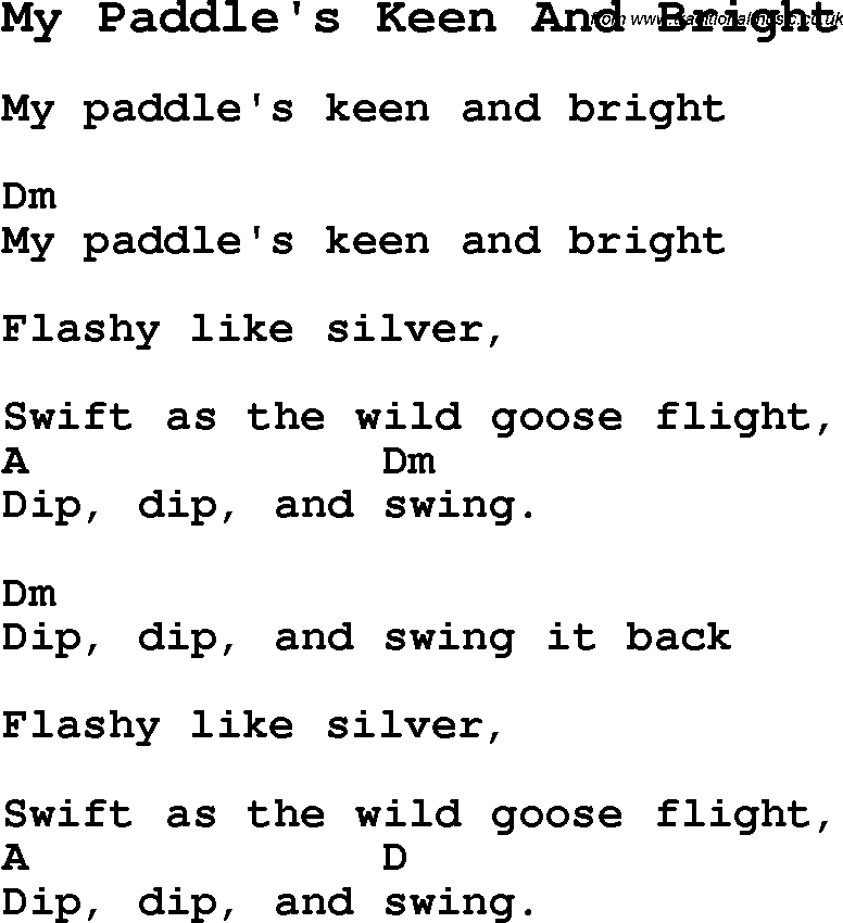 Summer Camp Song, My Paddle's Keen And Bright, with lyrics