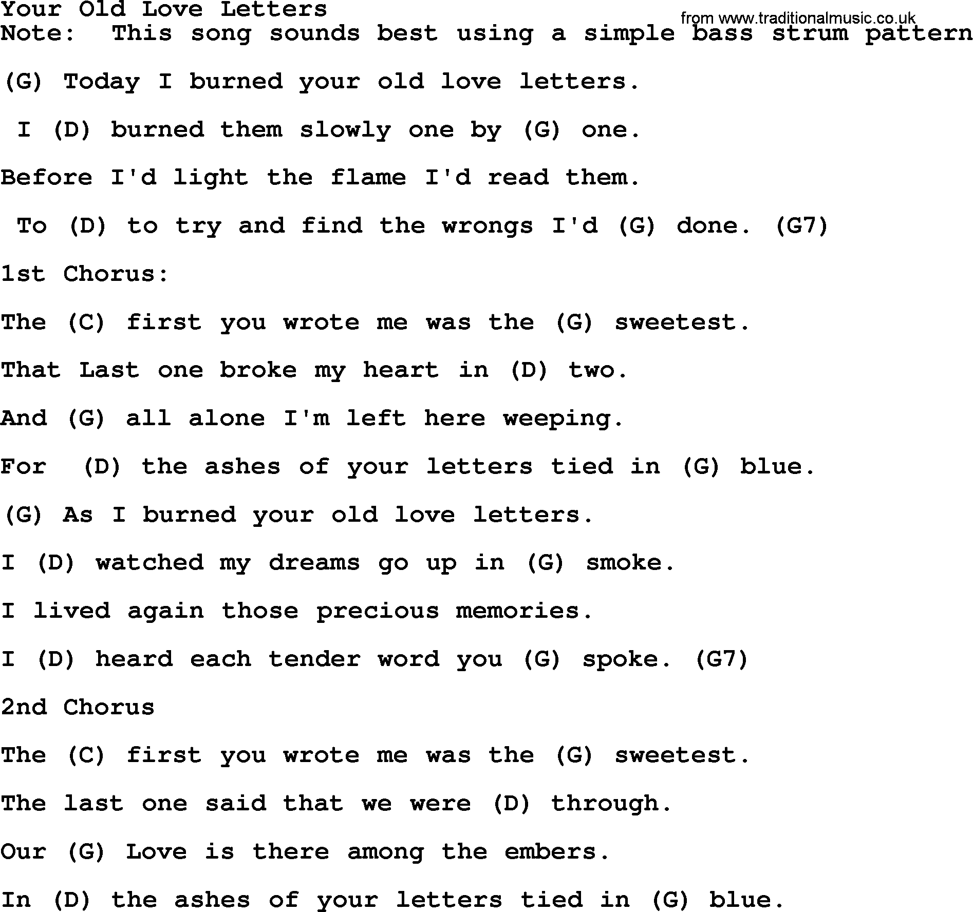 Bluegrass Song: Your Old Love Letters, Lyrics And Chords