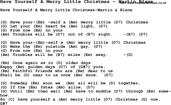 have yourself a merry little christmas by martin blane - Chords To Have Yourself A Merry Little Christmas