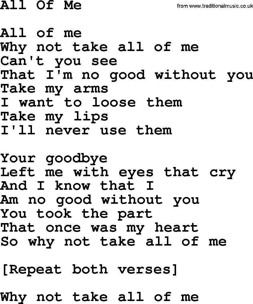 Willie Nelson song: All Of Me, lyrics