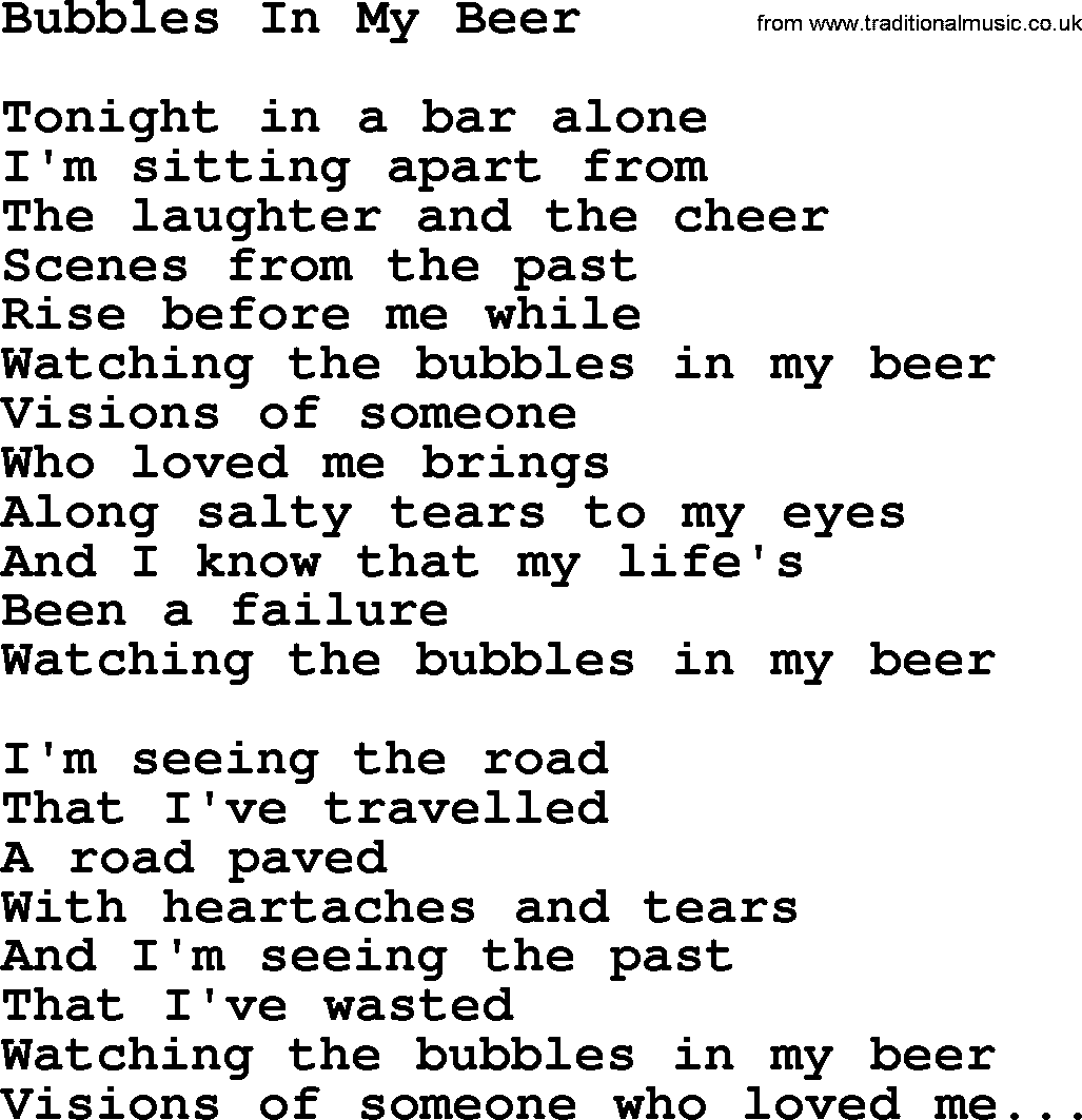 Willie Nelson song: Bubbles In My Beer, lyrics