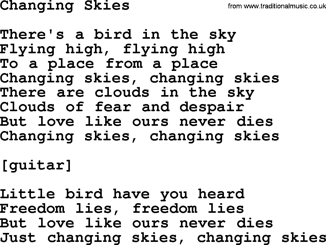 Willie Nelson song: Changing Skies, lyrics
