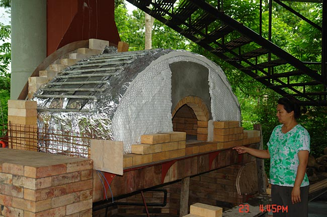 My brick oven  fireplace cook food and heat water