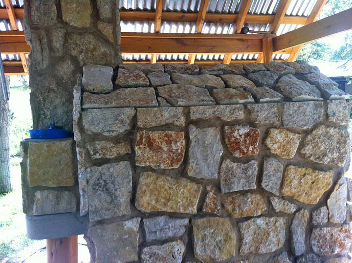 Oven with stone veneer under a covered patio