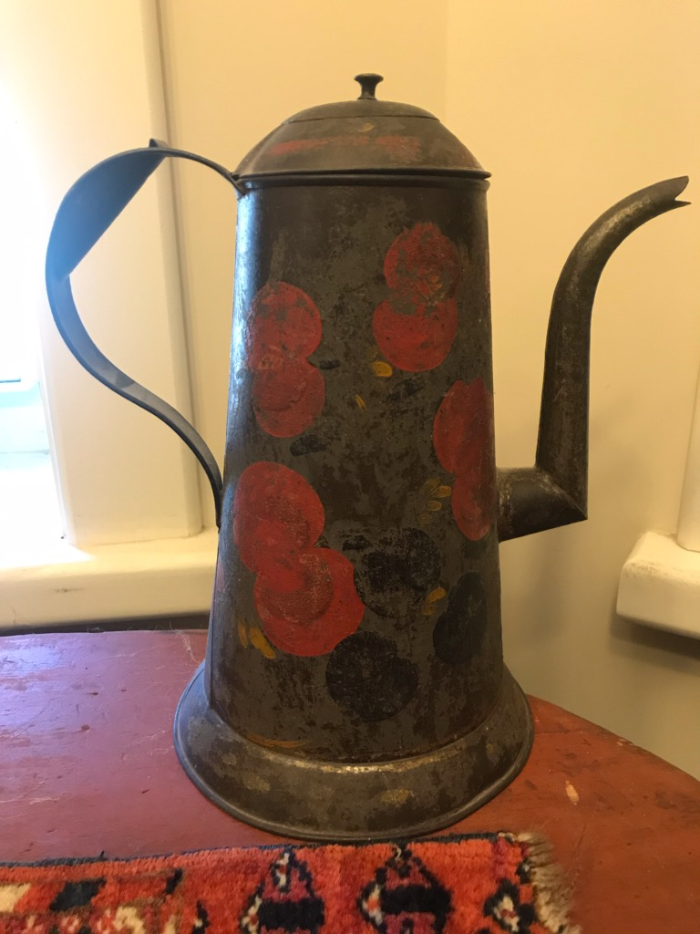 "Rare tole coffee pot 10 and 1/2"" in height $295"